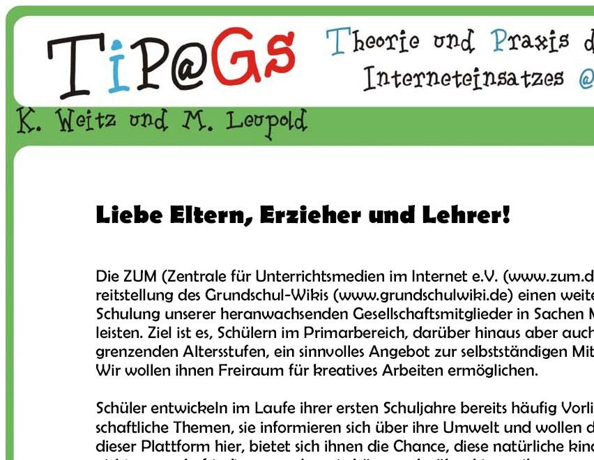 TiP@Gs - Arbeitsblatt - Umgang mit der Suchmaschine \